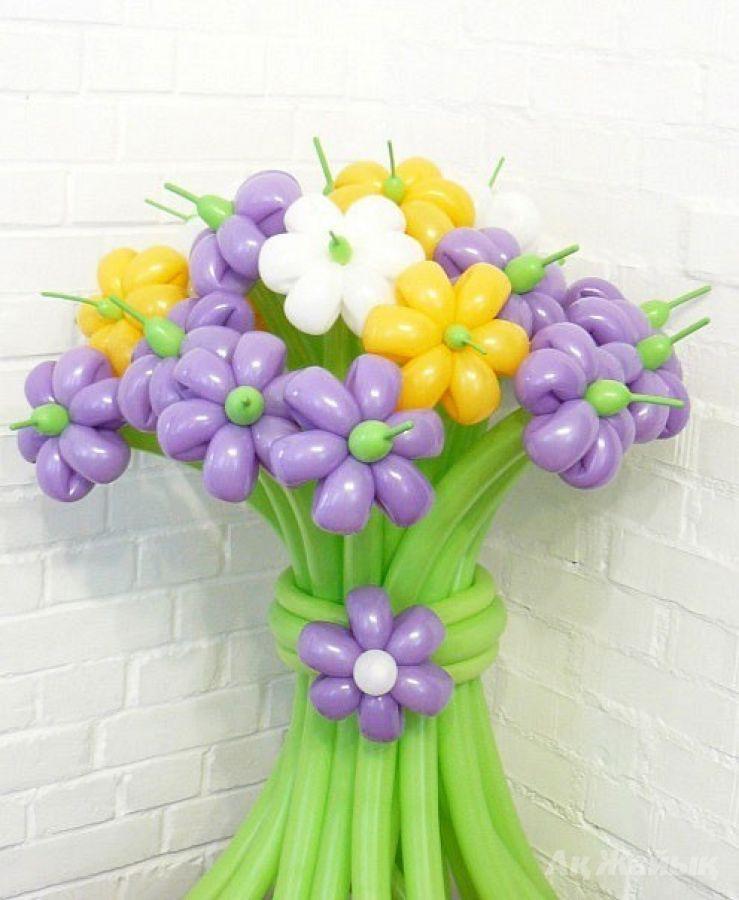 цветы из воздушных шаров своими руками букет