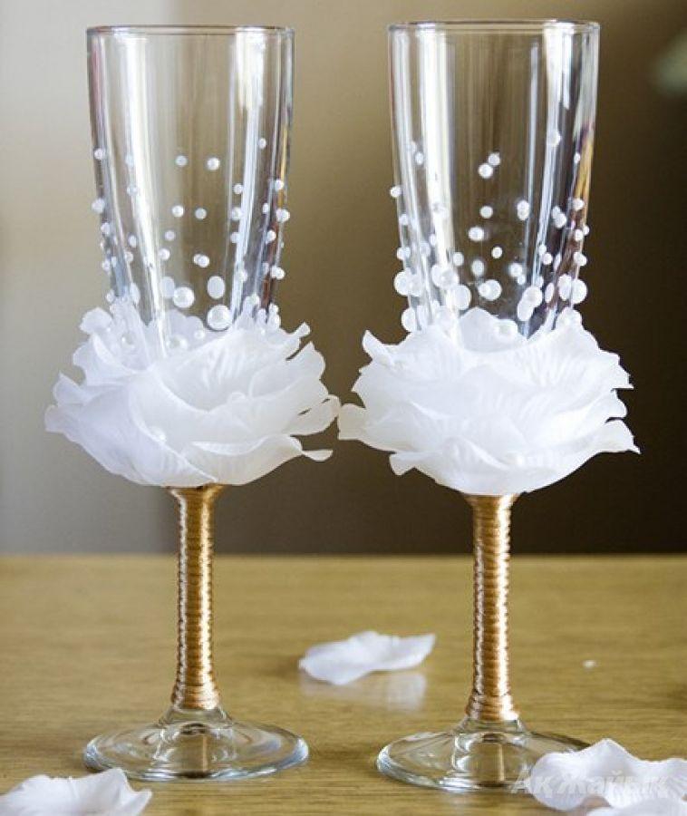 Бокалы к свадьбе своими руками фото