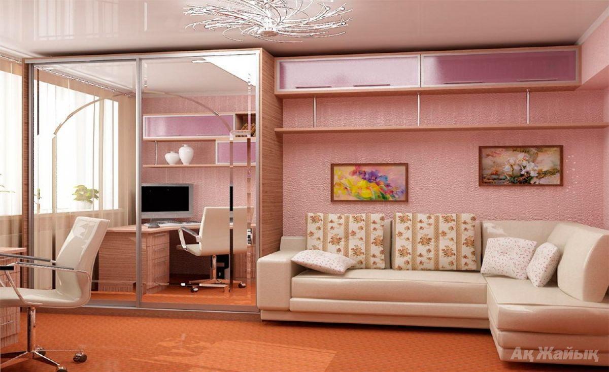 Дизайн комнаты с диваном телевизором и шкафом.